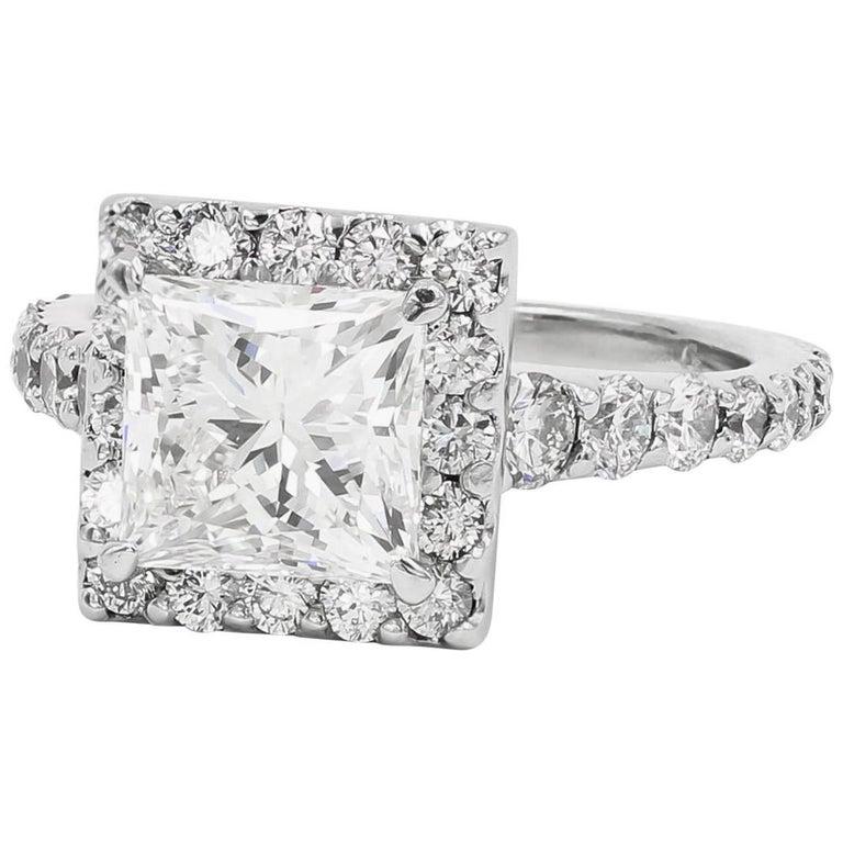 GIA Certified 2.19 Carats Princess Cut Halo Set Platinum Diamond Ring