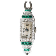 Art Deco Platinum White Gold Diamond Emerald manual Wristwatch, 1920s