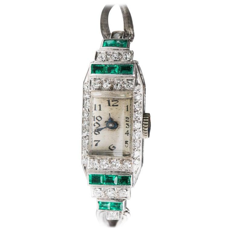 Art Deco Platinum White Gold Diamond Emerald manual Wristwatch, 1920s