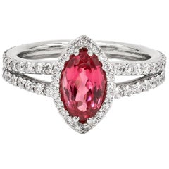Natural Tanzanian 1.22 Carats Oval Pink Spinel and Diamond Ring