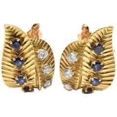 Van Cleef & Arpels Diamond and Sapphire Earrings 18 Karat Yellow Gold