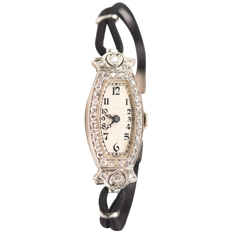 Concord Ladies Platinum Diamond Manual Wind Wristwatch, 1920s