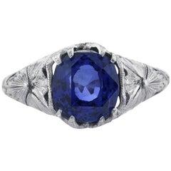 Mark Broumand 3.90 Carat Cushion Cut Ceylon Sapphire Engagement Ring