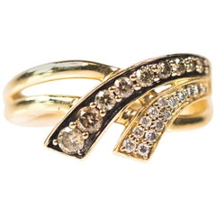 Le Vian Chocolate and White 0.30 Carat Diamond and 14 Karat Yellow Gold Ring
