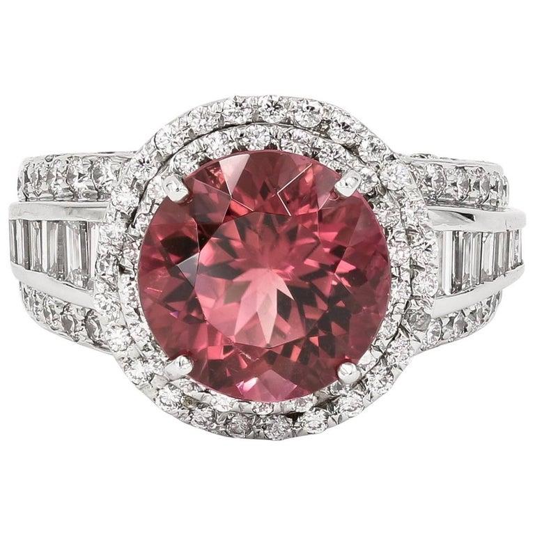 5.10 Carats Natural Pink Tourmaline and Diamond Ring