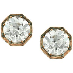 Mark Broumand 4.09 Carat Old European Cut Diamond Stud Earrings