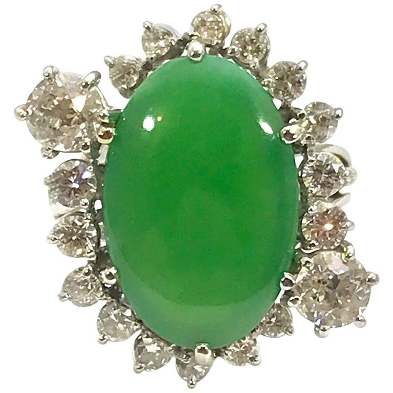 """Oval Cabochon Type """"A"""" Natural Jadeite Jade and Diamond Platinum Ring"""