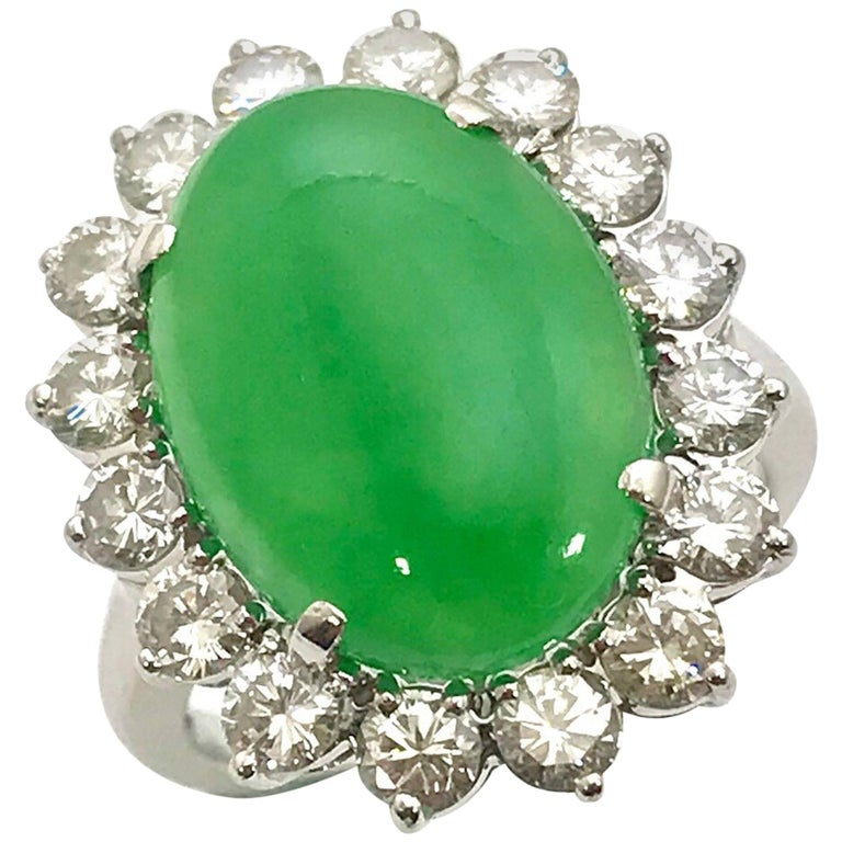 "Oval Cabochon Type ""A"" Natural Jadeite Jade and Diamond Platinum Ring"