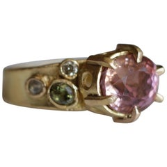 4.6 Carat Peach Tourmaline, 22 Karat Gold Cocktail Ring