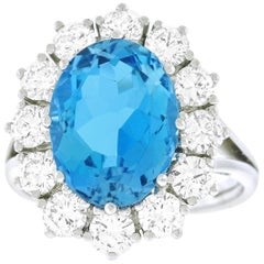Bucherer Classic Aquamarine and Diamond Set Gold Ring