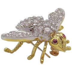 18 Karat Yellow Gold and White Gold Diamond and Ruby Bee Brooch