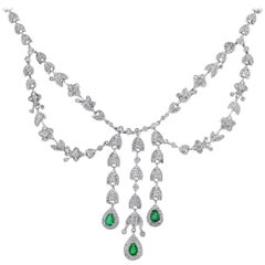 Diamond and Emerald Chandelier Necklace