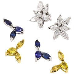 Diamond and Sapphire Earrings with Interchangeable Stones in 18kt Gold
