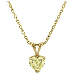 Mark Broumand 1.01 Carat Fancy Light Yellow Heart Shaped Diamond Pendant