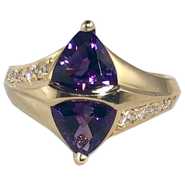 Jose Trillos 18 Karat Amethyst and Diamond Cocktail Ring For Sale