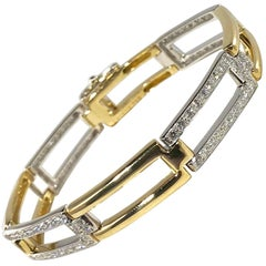Carelle 18 Karat Two-Tone Gold and Diamond Contemporary Link Bracelet