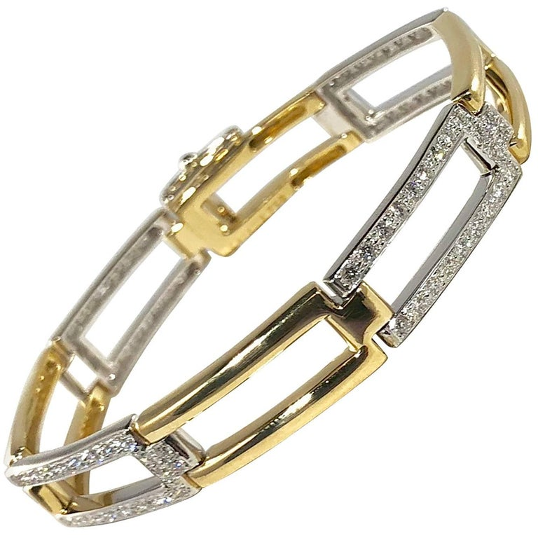 Carelle 18 Karat Two-Tone Gold and Diamond Contemporary Link Bracelet For Sale