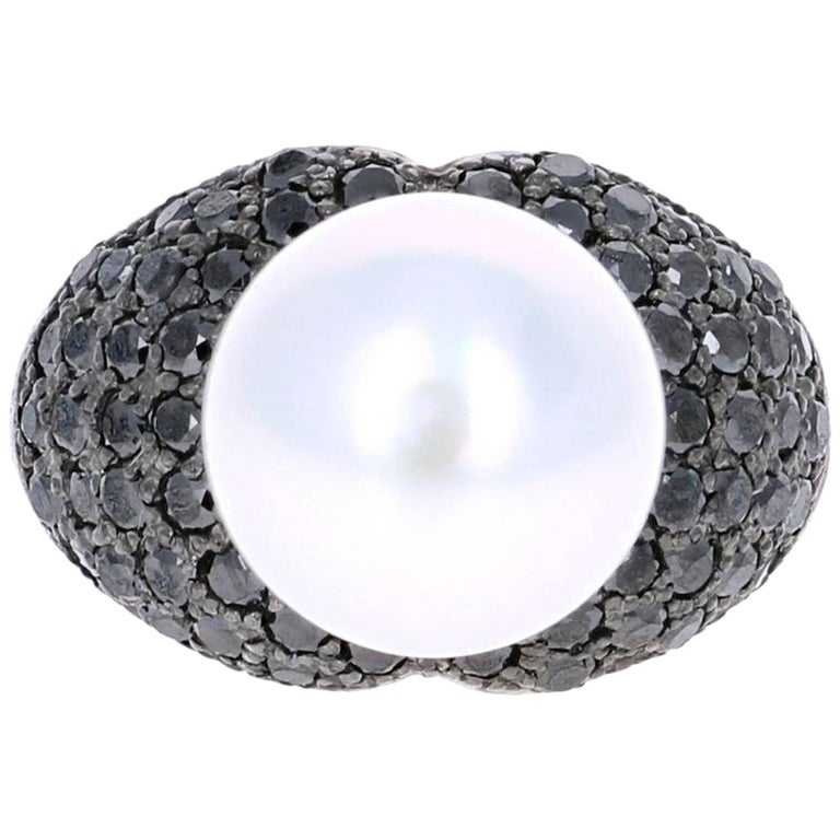 1.68 Carat South Sea Pearl Black Diamond Cocktail Ring For Sale