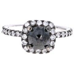 2.00 Carat Black Diamond White Gold Engagement Ring