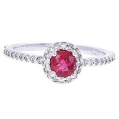 0.99 Carat Round Cut Ruby Diamond White Gold Engagement Ring