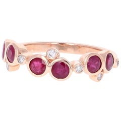 1.16 Carat Ruby Diamond Rose Gold Band