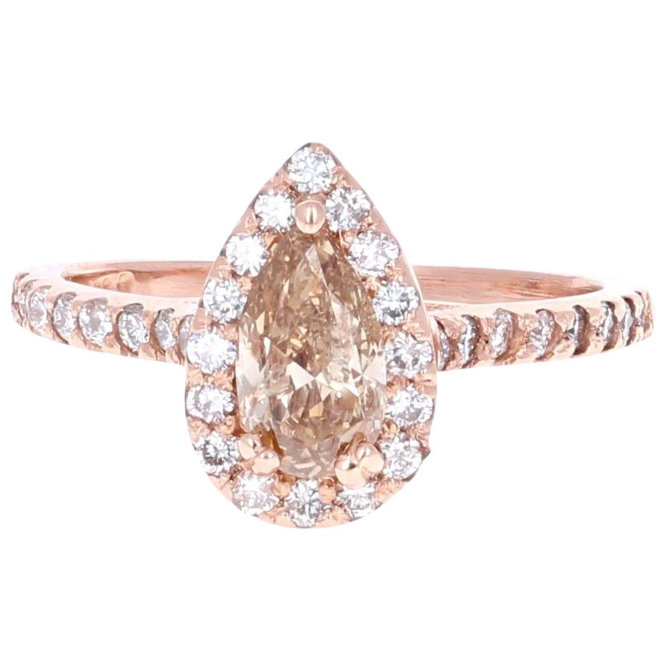 1.55 Carat Fancy Pear Cut Diamond Engagement Ring in 14K Rose Gold