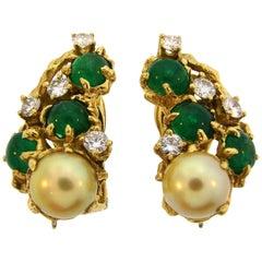 ARTHUR KING Pearl Diamond Emerald Yellow Gold Earrings