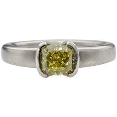 Radiant Lemon Yellow Diamond and Platinum Ring