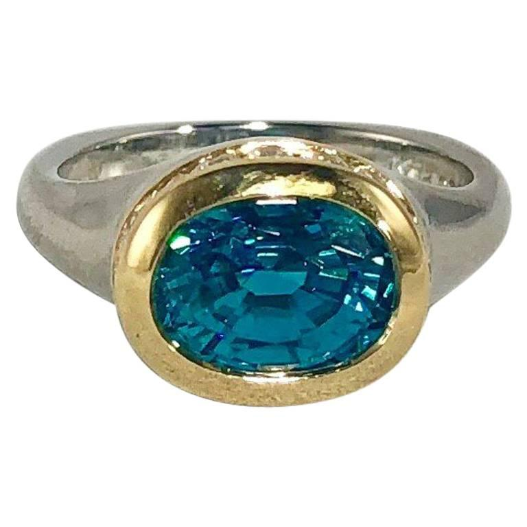 Richard Krementz Gemstones Platinum/18 Karat 5.4 Carat Blue Zircon Diamond Ring
