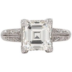 Edwardian Era 2.04 Carat Square Cut Diamond Engagement Ring