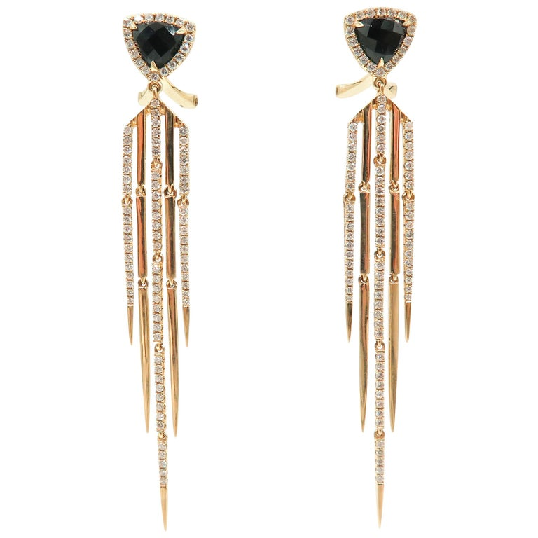 Onyx and Diamond Yellow Gold Drop Earrings