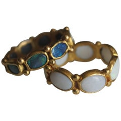 Black Opal 22 Karat Gold Bezel Ring One of a Kind Handmade Jewelry