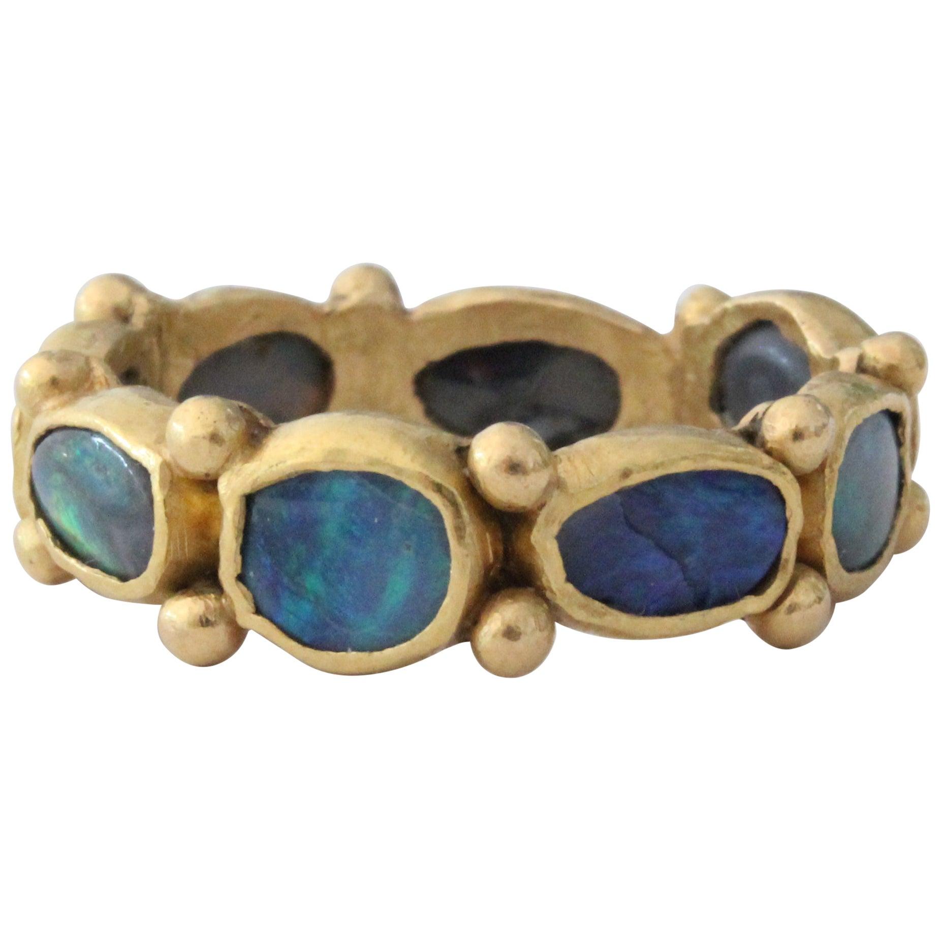 Black Opal 22 Karat Gold Bezel Band Fashion Ring One of a Kind Handmade Jewelry