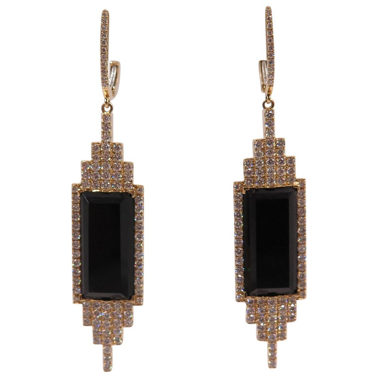 Onyx and Diamond Geometric Style Drop Earrings