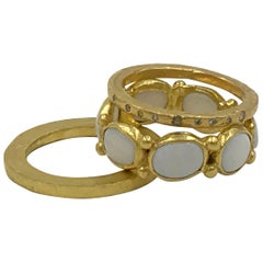 White Opal 22 Karat-21 Karat Gold Bezel Ring One Of A Kind Handmade Jewelry