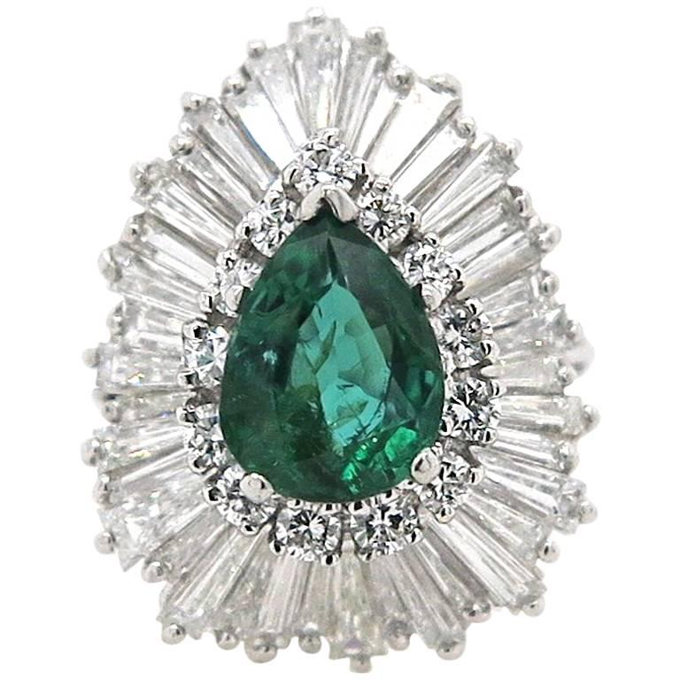 2.15 Carat Pear Shaped Colombian Emerald and 3.95 Carat Diamond Cocktail Ring