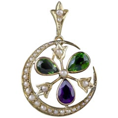 Antique Victorian Suffragette Pendant Amethyst Pearl 9 Carat Gold, circa 1900