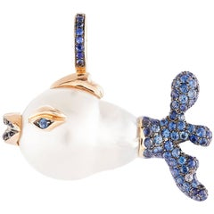 South Sea Pearl Blue Sapphire Fish Pendent