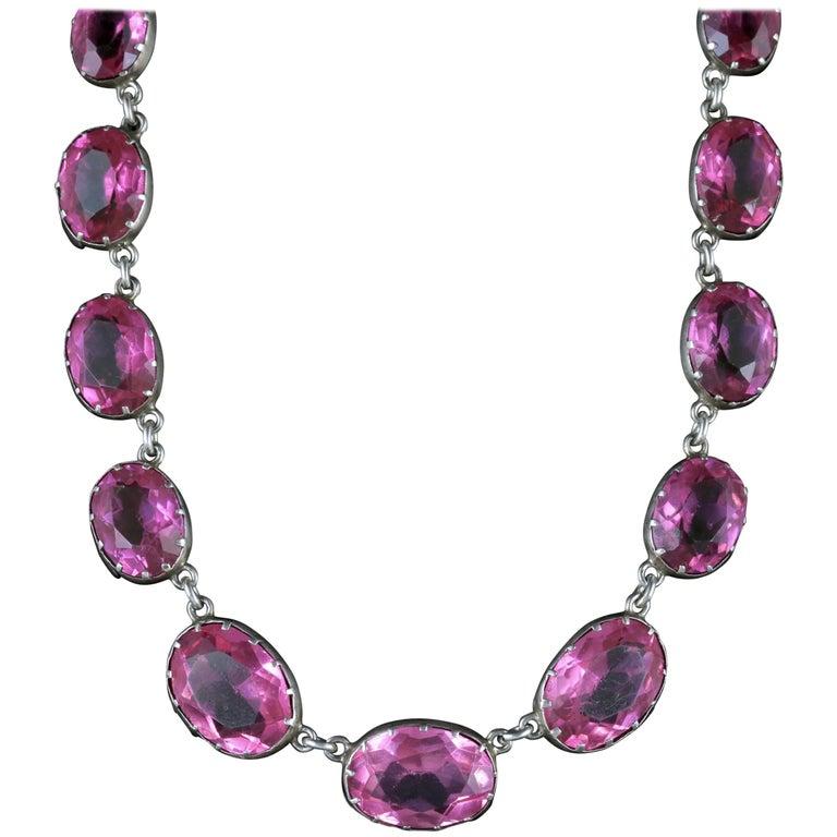 Antique Victorian Pink Paste Necklace Silver Collar, circa 1880