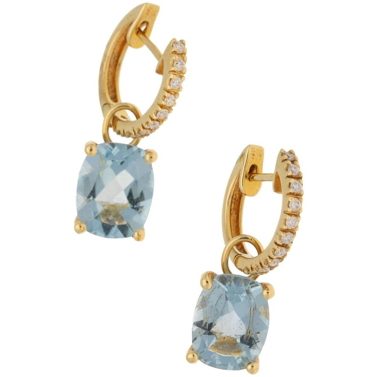 18 Karat Gold Diamond Aquamarine Hoop Drop Earrings For