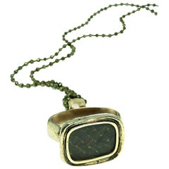 Vintage Pendant, Pyrite 10K Gold Long Necklace