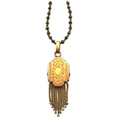 Vintage Pendant, Pyrite, 15 Carat Gold Long Necklace