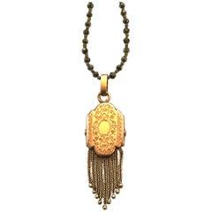 Vintage Pendant, Pyrite 15K Gold Long Necklace