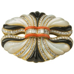 Elegant Colored Stone and Diamond Brooch