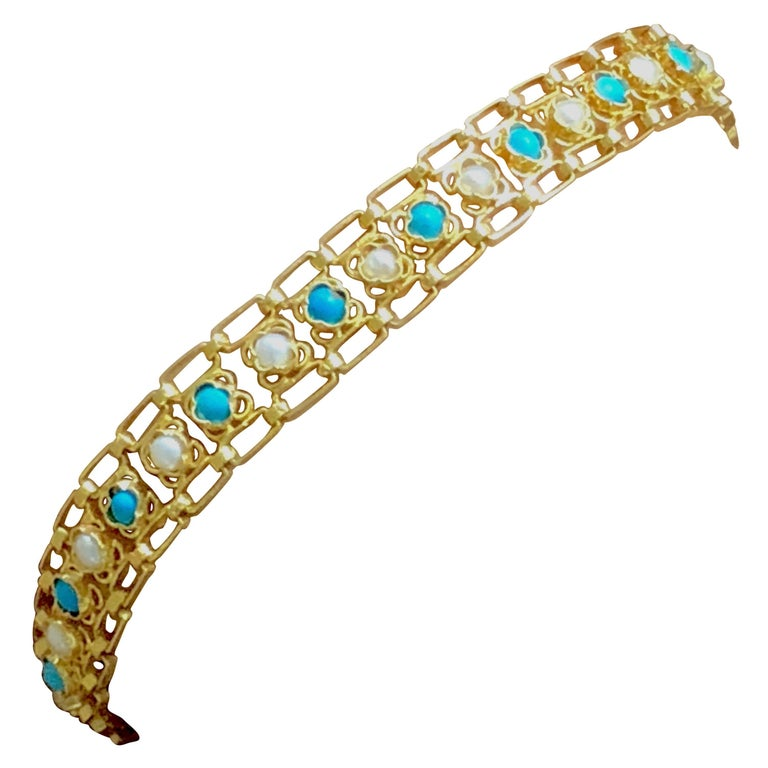 Turquoises and Pearls 18K Gold Link Bracelet For Sale