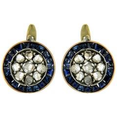1800' Sapphire Diamond Gold Cluster Earrings