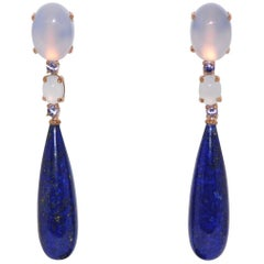 Lapis Lazuli, Chalcedony and Tanzanite Rose Gold Chandelier Earrings