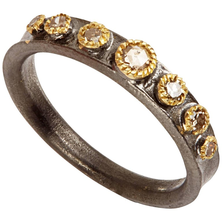Champaign Diamonds 14 Karat Gold Oxidized Sterling Silver Band Ring For Sale