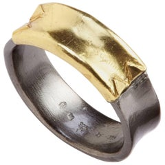 14 Karat Yellow Gold Oxidized Sterling Silver Band Ring