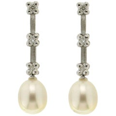 Cultured Pearls White Gold Diamonds Drop Earrings